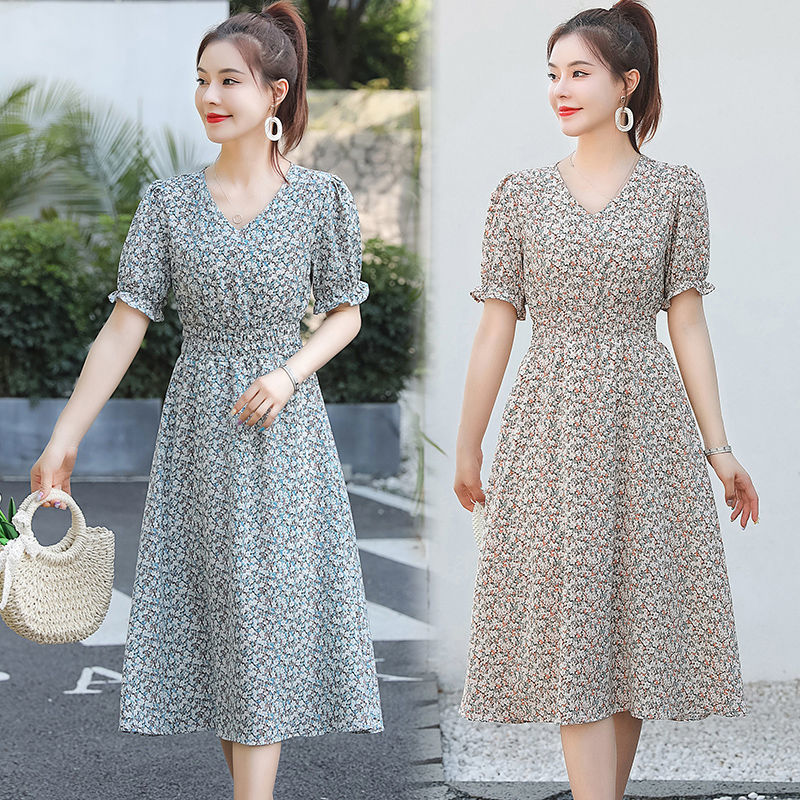 Floral short sleeve dress womens summer 2021 new fashion waist show thin fashion temperament lady style age reducing long skirt