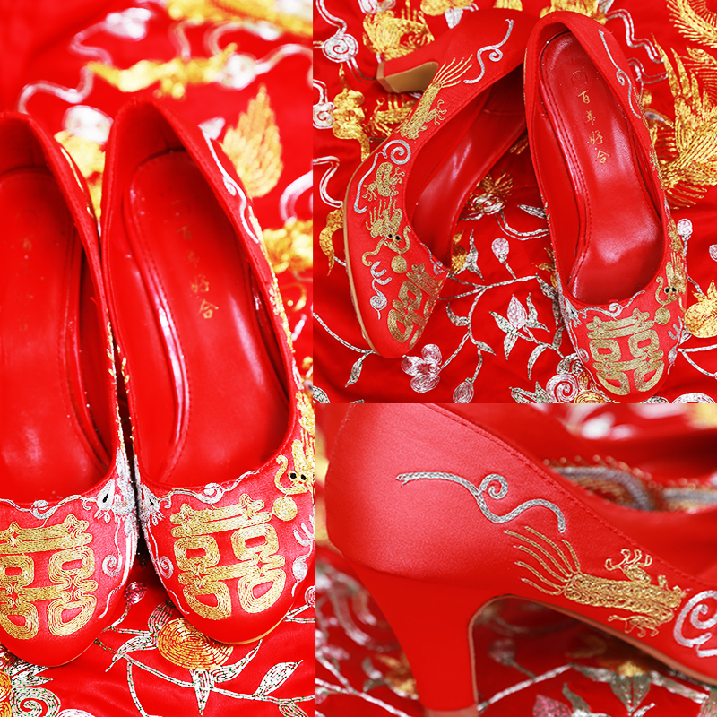 Xiuhe shoes with Chinese style gold and silver thread Hand Embroidery Flower dragon and Phoenix skirt gown wedding red bride wedding shoes female low heel