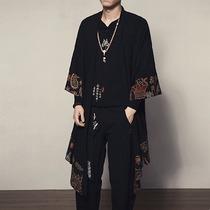 复古中国风男装民族风外套夏季七分袖和服开衫亚麻中长款披风衣潮
