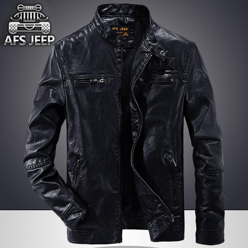 Autumn and winter plush leather mens casual wash coat Zhan Di Ji Pu locomotive PU Leather Mens jacket