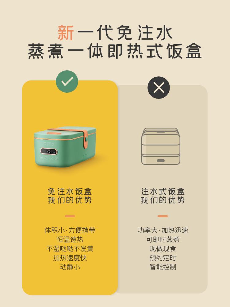 生活元素电热饭盒免注水自加热饭盒插电上班族可加热蒸饭热饭神器