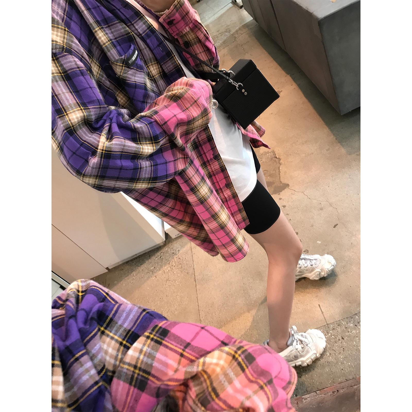 vcruan阿希哥防晒格子衬衫女复古港味宽松长袖上衣撞色设计感衬衣