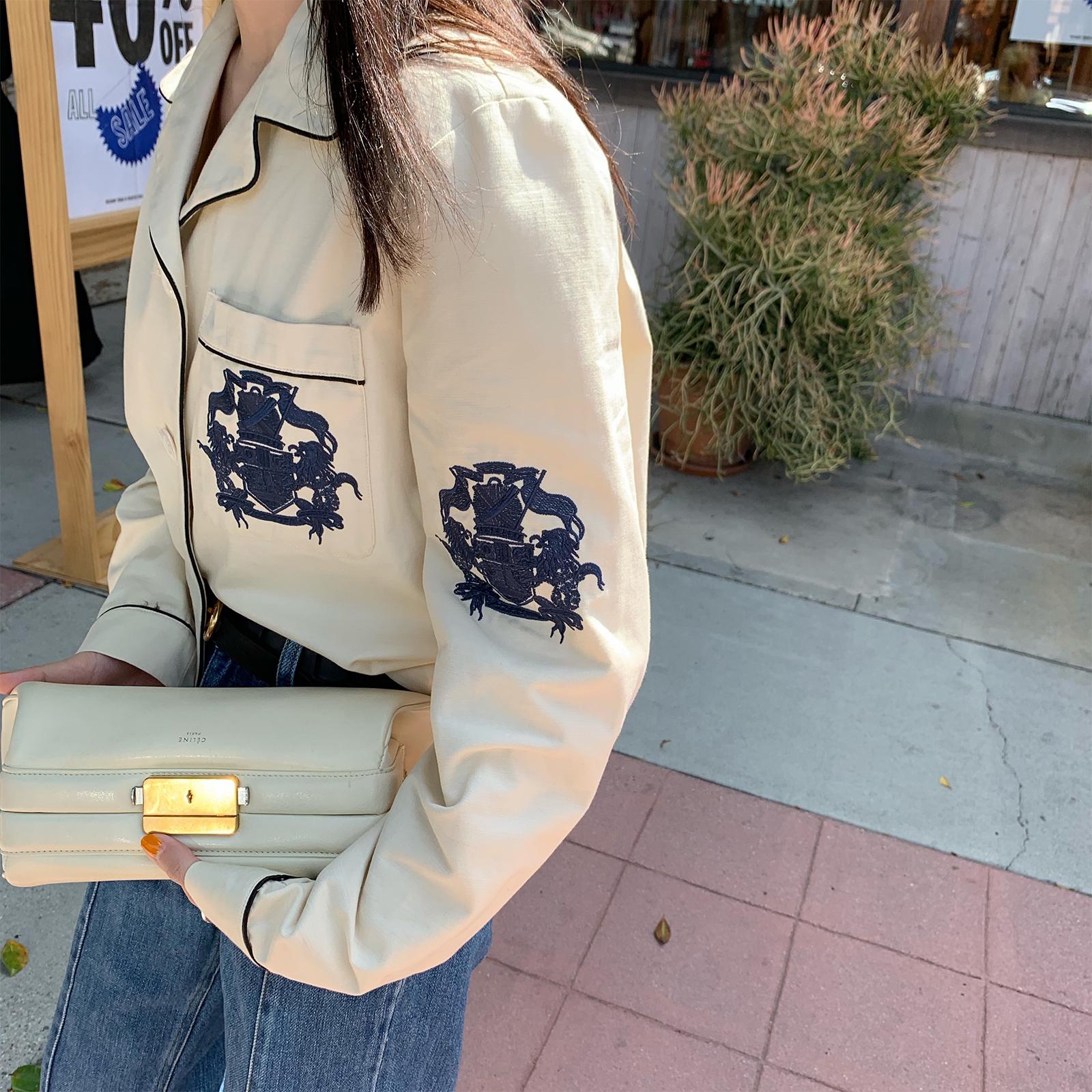 vcruan阿希哥 外套女2019新款夏季韩版宽松薄款上衣复古刺绣夹克