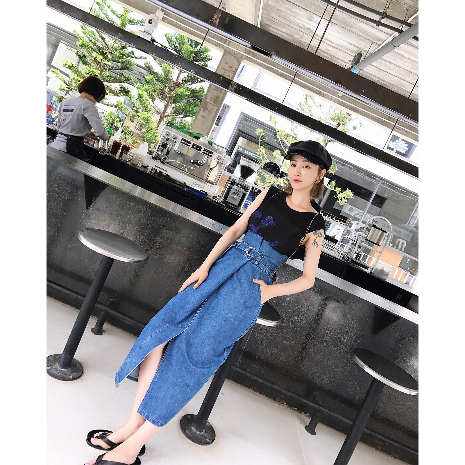 vcruan阿希哥 夏季牛仔裙女2018新款经典纯色高腰显瘦开叉半身裙