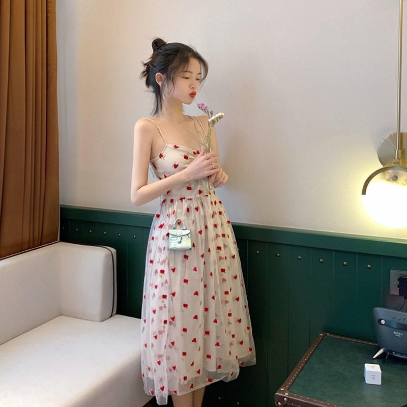 厌世风仙气超仙女甜美森系吊带裙子