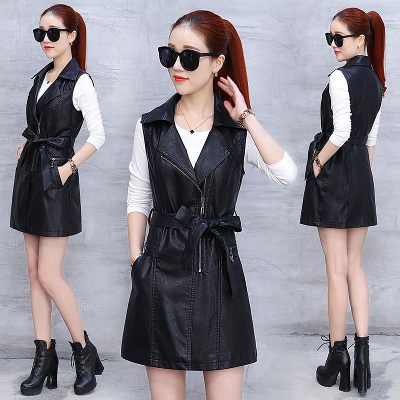 Waistcoat women 2020 spring and Autumn New Korean version of slim fit sleeveless windbreaker coat leather dress womens spring and autumn fashion PU leather jacket