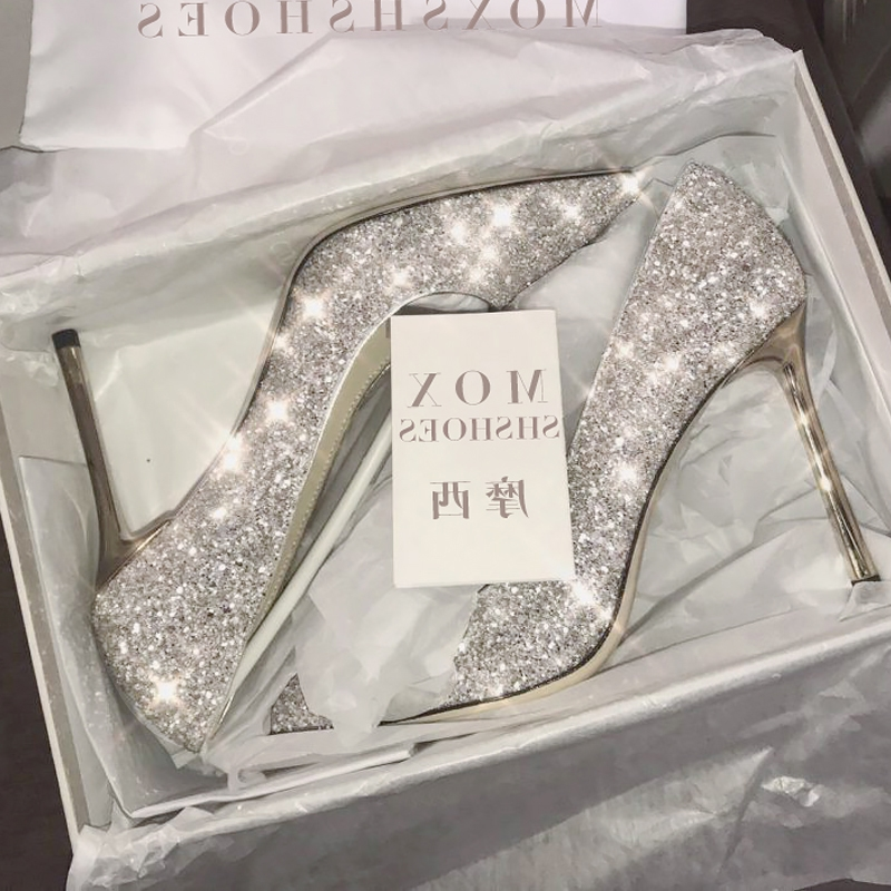 High heeled girls Slim heeled students 18-year-old silver crystal wedding shoes brides new versatile spring summer 2020