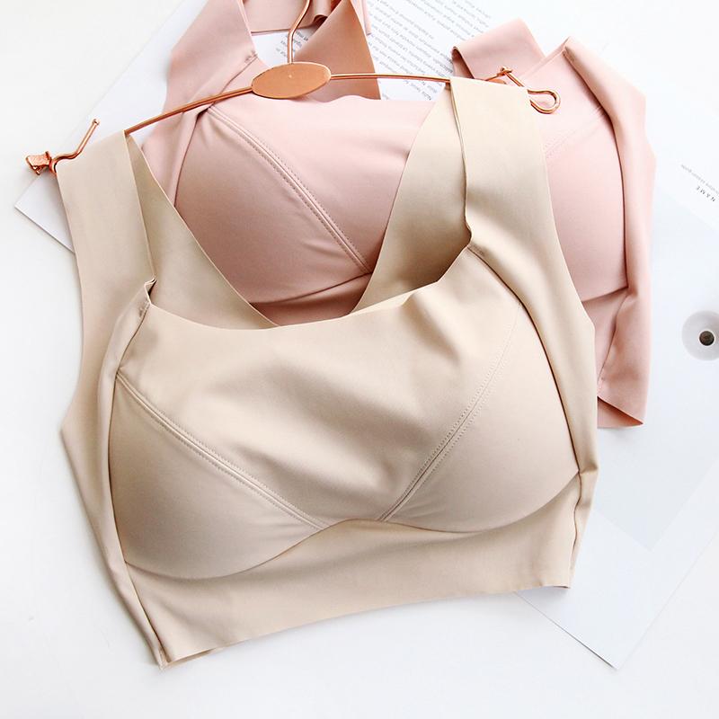 纯色冰丝 薄罩杯带透气孔一片式无痕防走光抹胸式文胸大码全罩杯