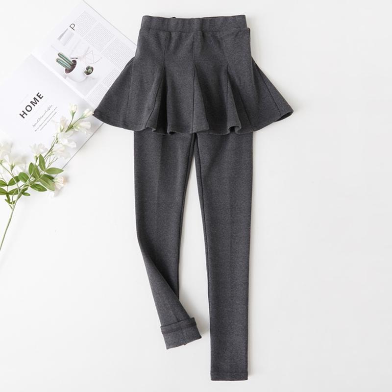 假两件外穿春秋新款韩版百褶打底裤