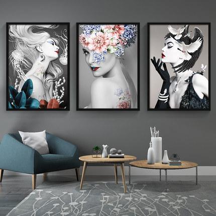 理发店装饰发廊酒吧美容美发背景墙面壁画服装店个性创意艺术挂画