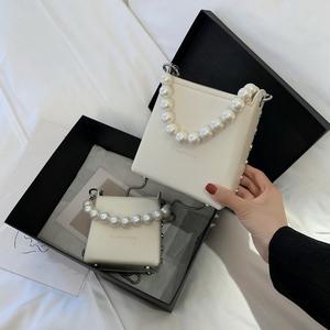 简约小包包女2020新款潮百搭斜挎链条包时尚单肩小方包珍珠手提包
