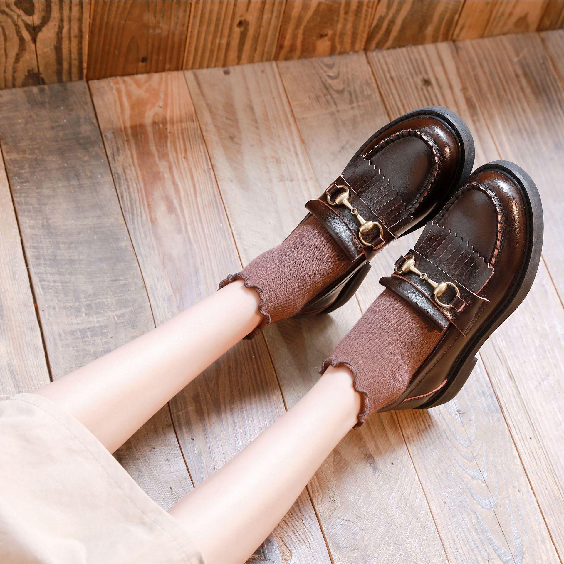 British womens small leather shoes suolurita Japanese JK uniform retro college soft girl flat bottom Lefu single shoes summer