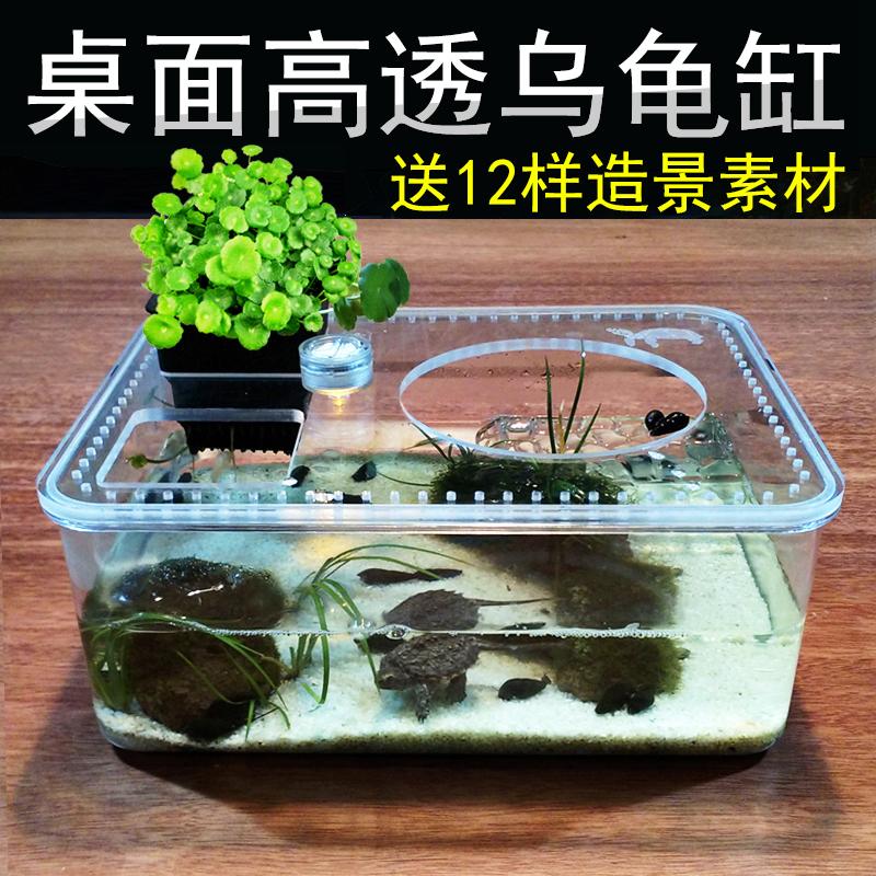 乌龟缸水陆带晒台塑料盆小型桌面鱼缸免换水亚克力爬虫饲养盒透明