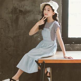 女童牛仔揹帶裙套裝春夏季韓版親子裝中大童條紋短袖T恤兩件套潮