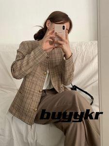 buyykr buying   21夏韩国代购新品西装夹克格纹短外套
