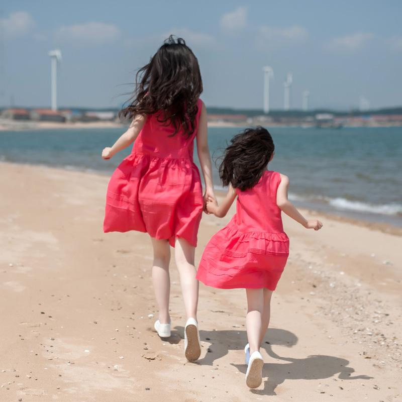 小乐往原创亲子装【心愿】新款可爱女孩拍照母女装亚麻连衣裙
