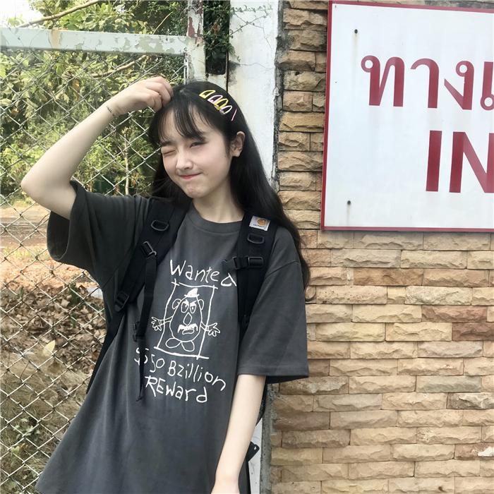 樱花麻豆韩风chic怪味少女敲可爱减龄简笔画印花学生宽松短袖T恤需要用券