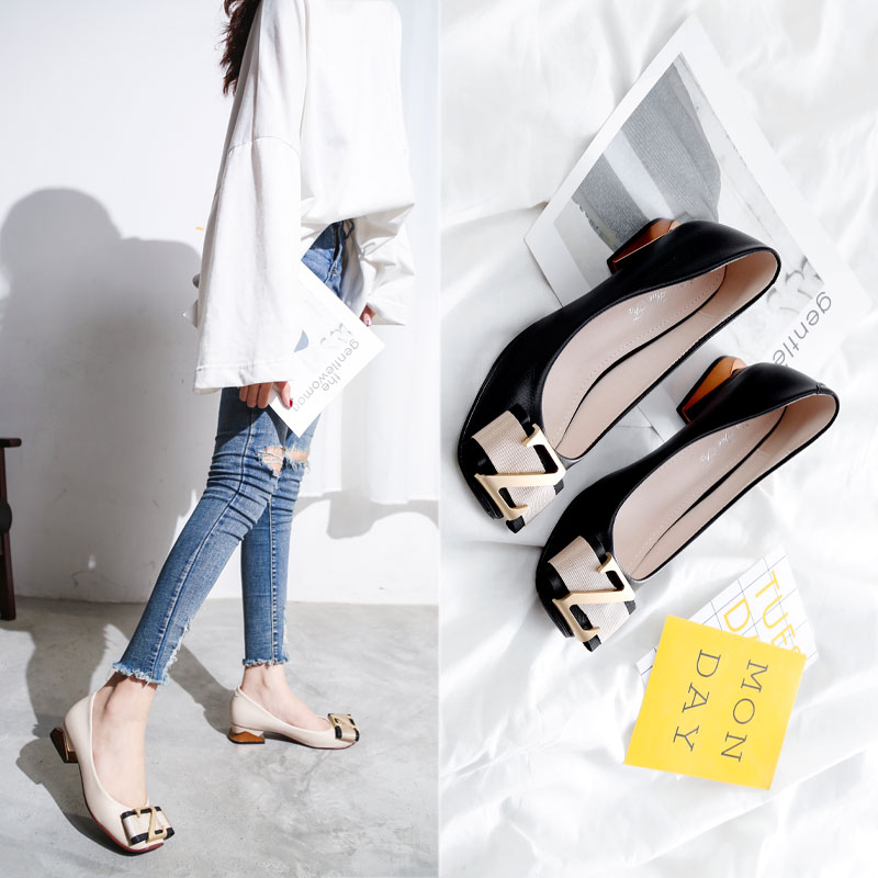 Single shoe womens 2020 spring new womens shoes thick heel medium high heel scoop shoes all kinds of low heel anti slip square toe grandma shoes