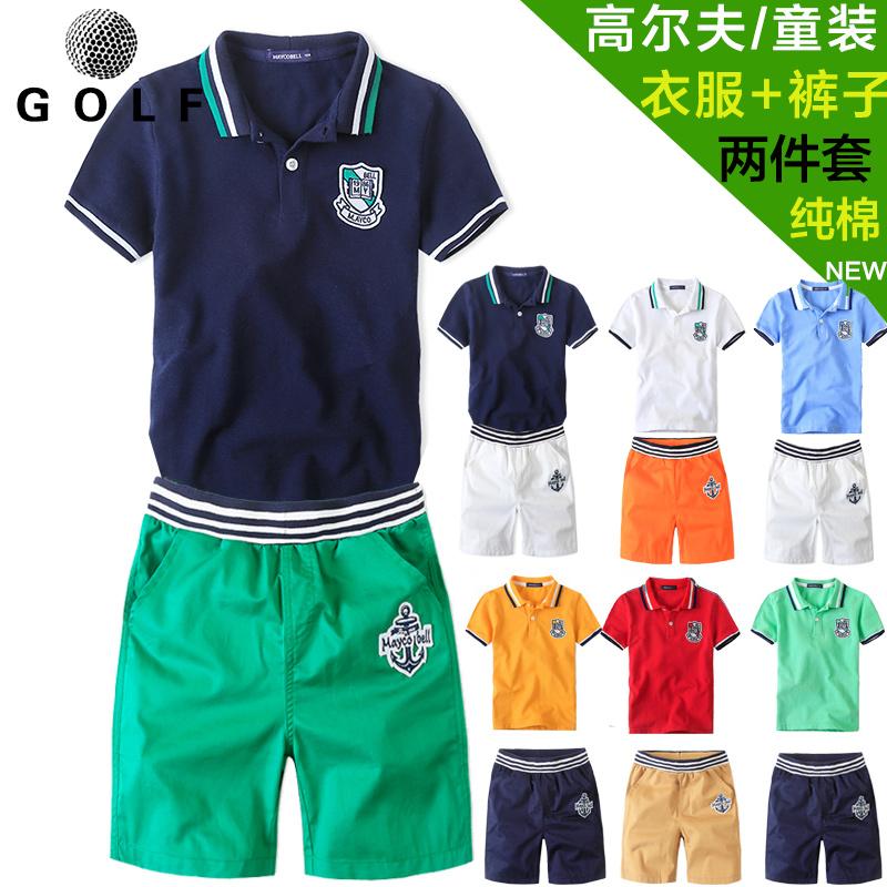 Гольф ребенок мужчина костюм для ребенка короткий рукав t футболки + брюки пять минут штаны шорты воротник polo рубашка спортивный набор наряд