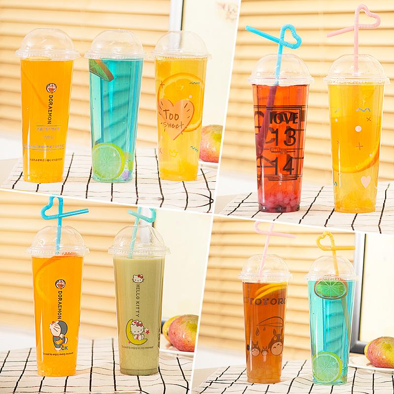 90口�侥滩璞�子一次性塑料杯 700/500ml奶茶杯��意塑料杯�料果汁