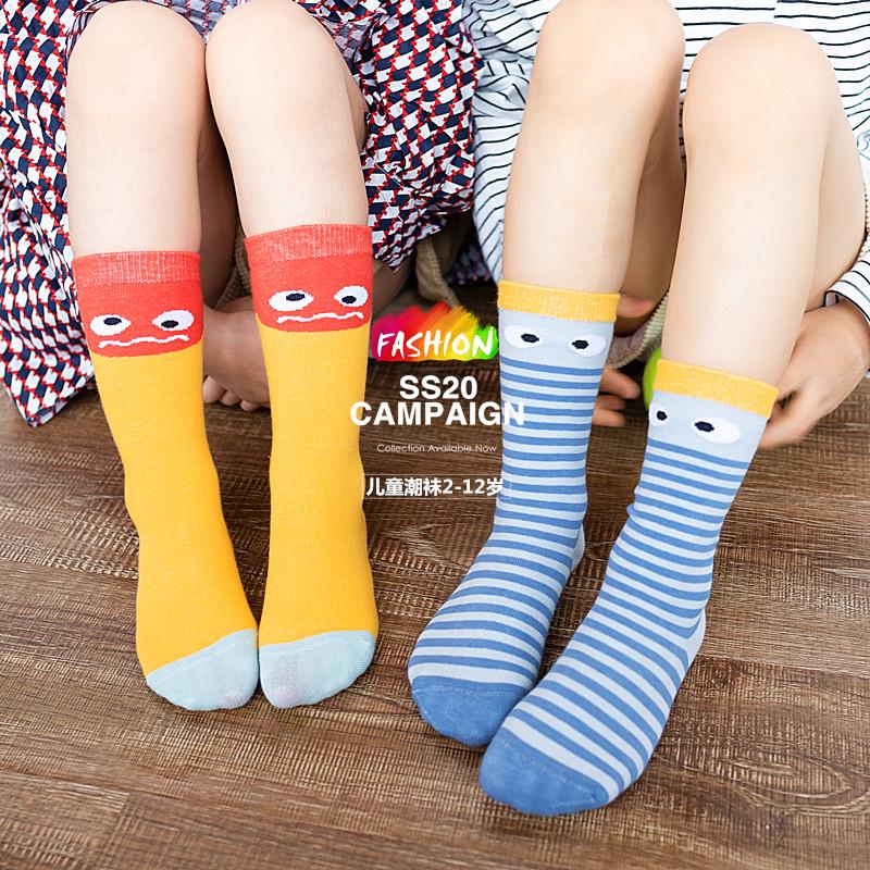 儿童棉袜男女童宝宝中长筒潮袜街舞卡通日系韩版学院风2-5-8-12岁
