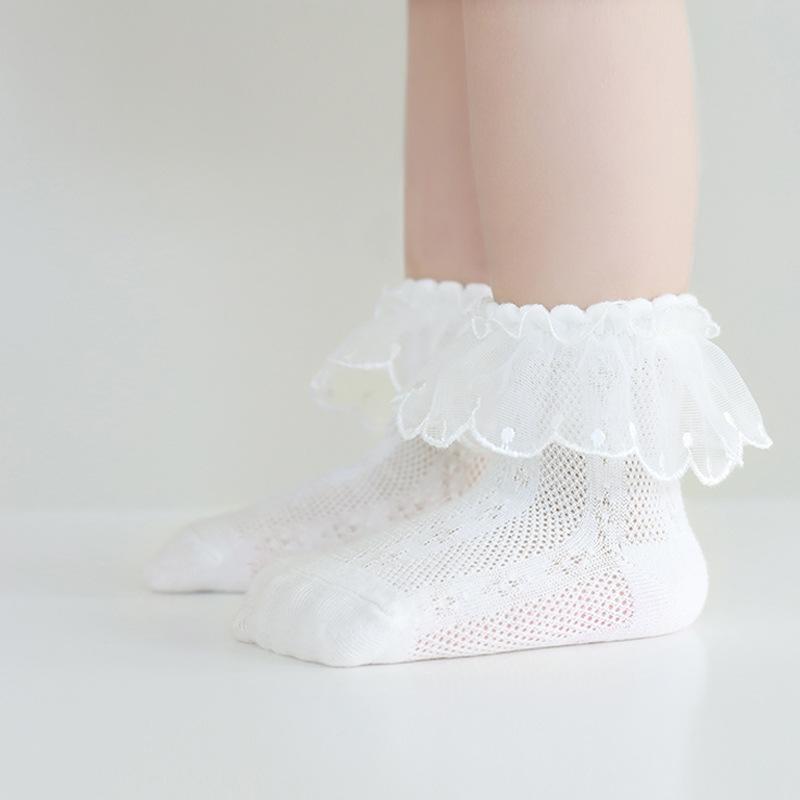 21新款婴儿袜子薄款夏季女童袜子精梳棉儿童网眼袜蕾丝花边宝宝袜