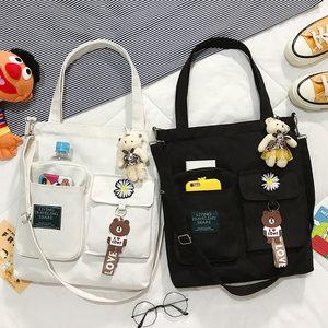 帆布包斜挎女日系大容量ins百搭韩版学生上课单肩包手拎手提书袋