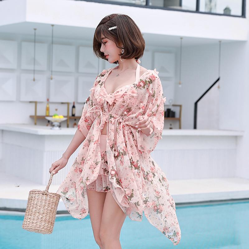 韩国温泉宽松遮肉分体三件套斤泳衣限时2件3折