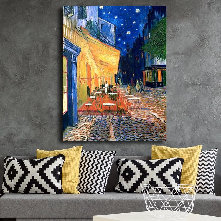 梵高油画咖啡馆 室内玄关沙发背景印象派现代装饰画 卧室墙壁挂画