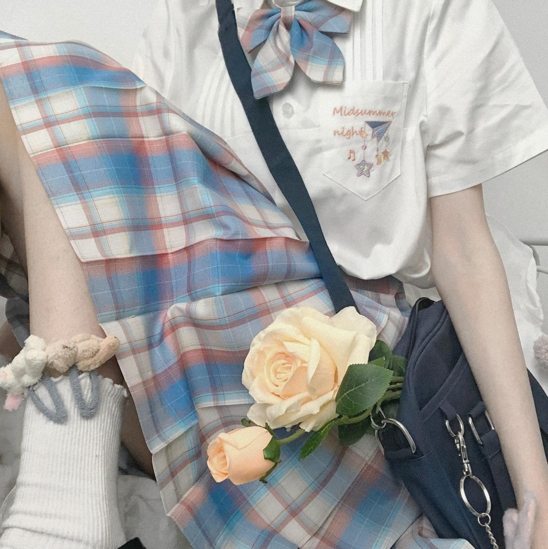 [midsummer night wear] original plaid skirt JK girl pleated skirt by green Zhisen+