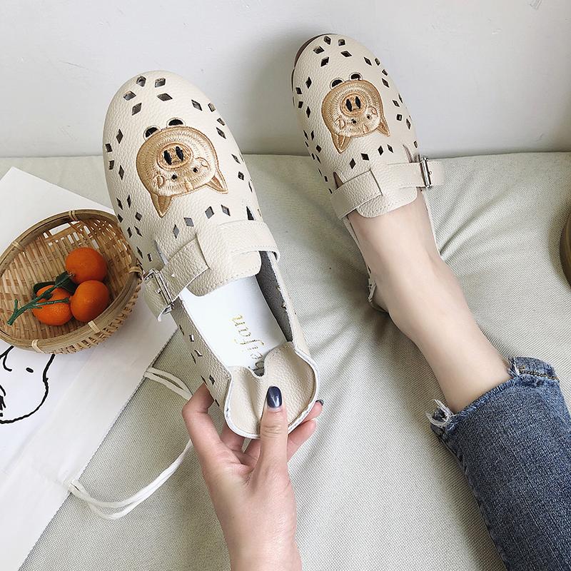 热销41件正品保证夏季镂空透气圆头女鞋2019新款拖鞋