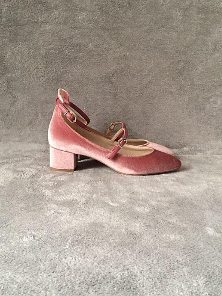粉色高跟鞋女一字扣带仙女浅口尖头绒面复古粗跟单鞋中跟玛丽珍鞋