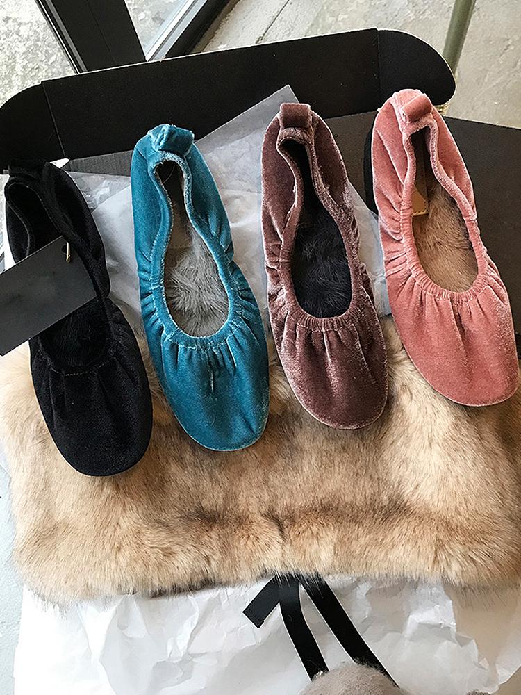 平底鞋女2019秋冬新款网红加绒兔毛软皮奶奶鞋简约舒适单鞋女百搭