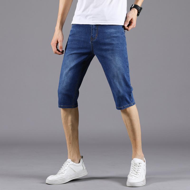 夏季薄款宽松休闲直筒牛仔短裤男五分马裤男士运动牛仔5分中裤