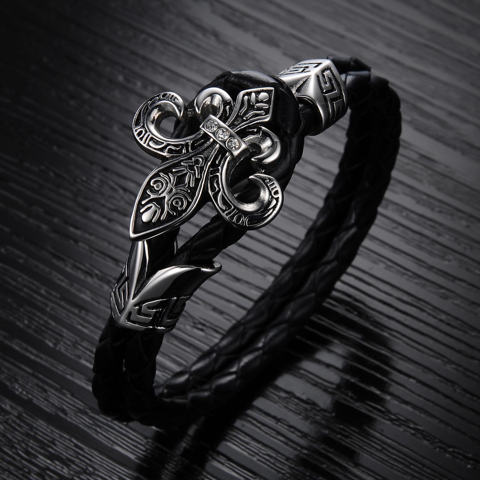 Европе Хорватия подъем мужчин титана стали кожа ретро панк ювелирных браслет корейских ювелирных изделий кожаный браслет для мужчин и женщин