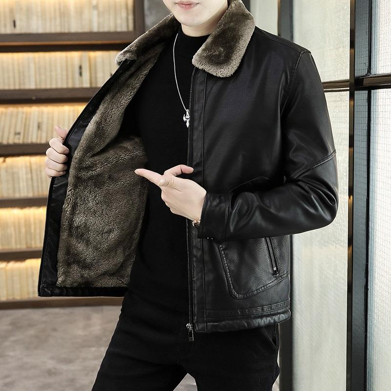 翻毛领皮衣男皮毛一体加绒加厚2020新款冬季男士羊羔绒外套潮