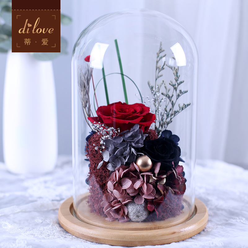 限2000张券进口永生花玻璃罩七夕生日送玫瑰花