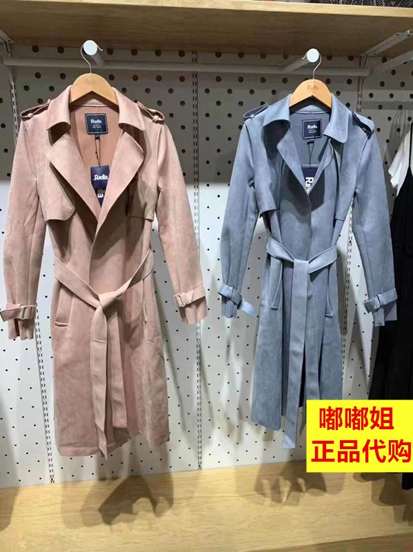 Domestic pull home fall 2019 new British style lace up medium length suede windbreaker coat woman 20015243
