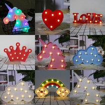 生日快乐love灯独角兽装饰灯KTV派对数字led创意小夜灯发光字母灯