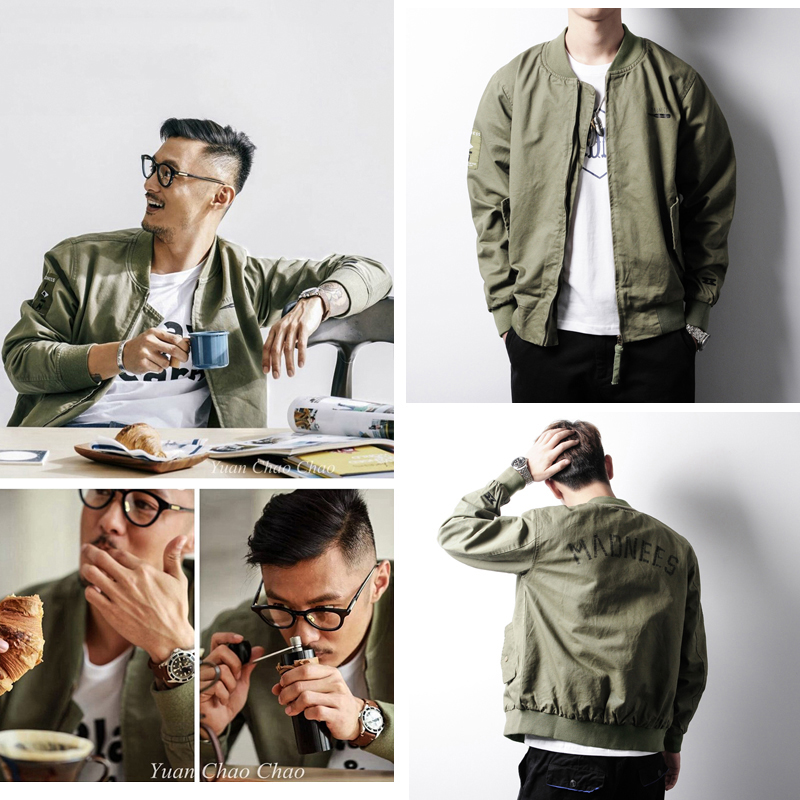 Spring and autumn Yu Wenle flight suit male Hong Kong style air force baseball uniform ma-1 pilot jacket thin jacket tide brand