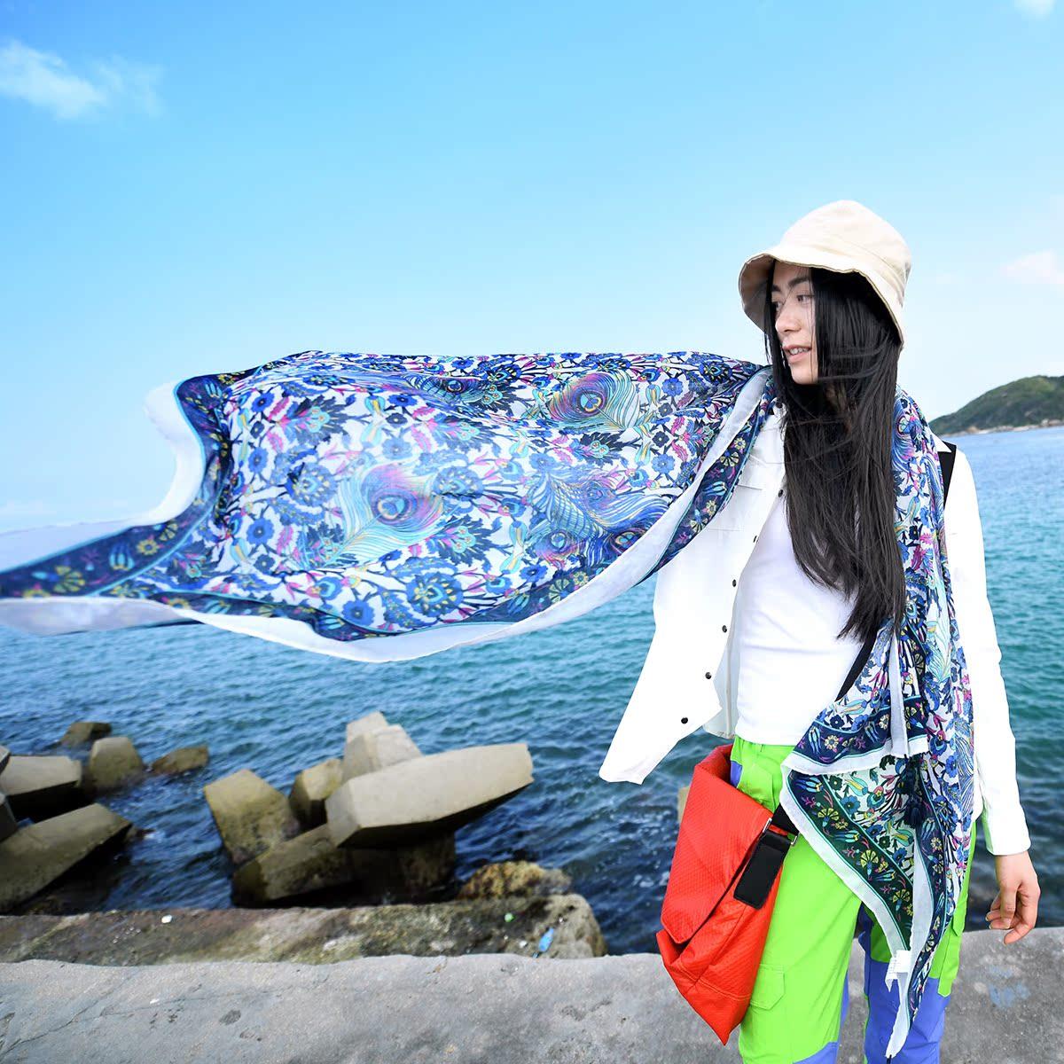 Пекин лес на открытом воздухе шаль шарф ретро ветер хлопковая ткань с принтом конопля кисточка шарфы путешествие затенение песчаный пляж полотенце