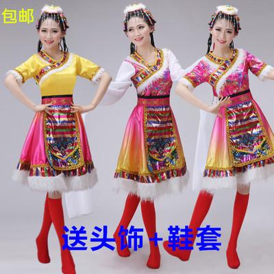 新款藏族舞蹈演出服儿童成人藏服蒙古少数民族衣服表演服装女套装