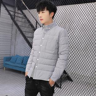 青年男士羽绒棉保暖衬衫秋冬季长袖外套轻薄格子寸衣修身纯色上衣