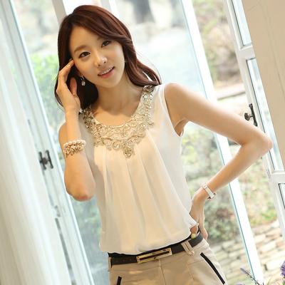 2020夏季韩版吊带背心女装外穿内搭无袖雪纺圆领蕾丝衫大码打底