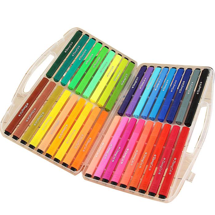 包郵48色學生大容量三角型筆杆盒裝可水洗安全無毒36色水彩筆粗頭