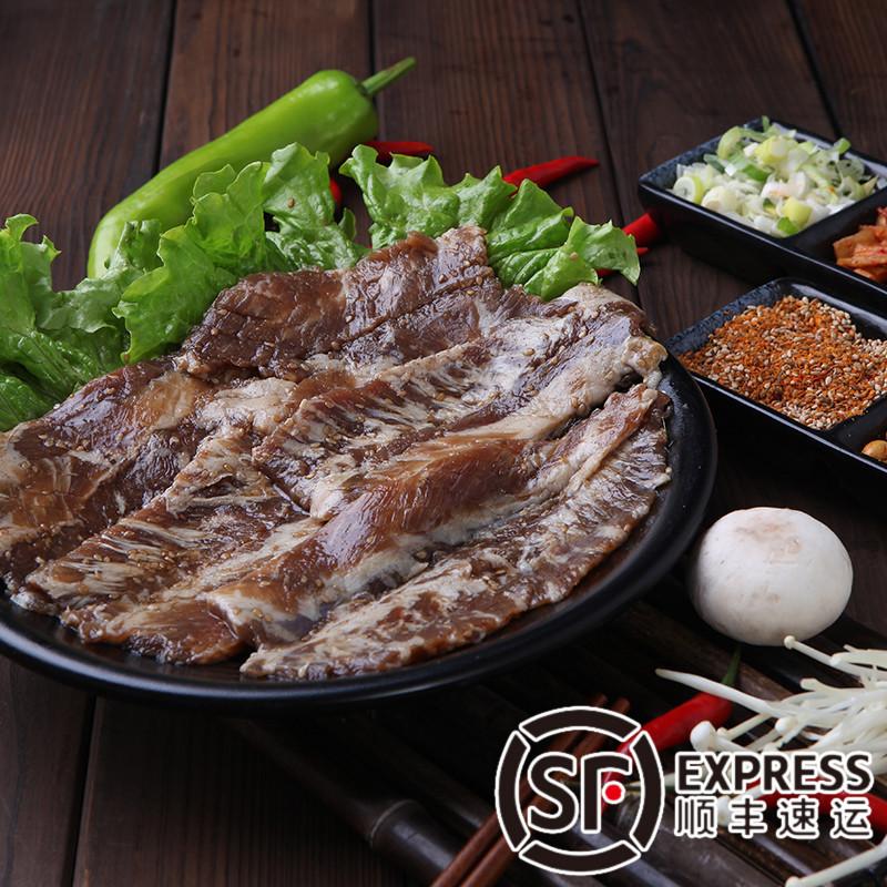 腌制牛排骨肉250g秘制�u料�{味牛肉切片新�r食材生�r烤肉生牛肉