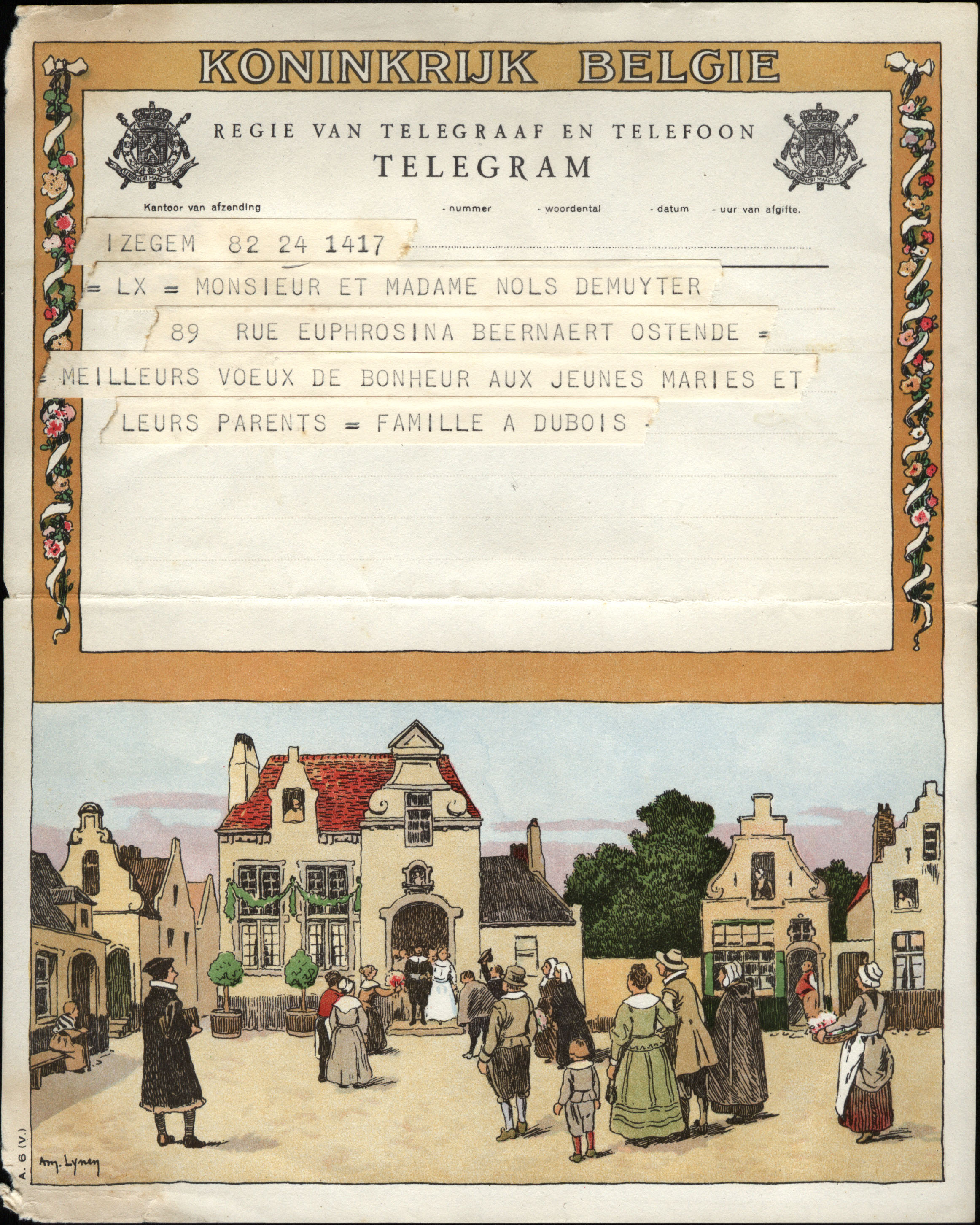 JK8 бельгия 55 телеграф бумага 55 телеграф бумага ( инжир : городок между свадьба поле поверхность )( задний покрытый печать )