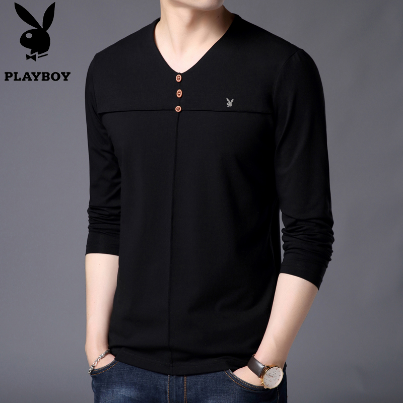 Autumn Playboy long sleeve t-shirt mens cotton V-neck T-shirt youth solid color slim fitting Korean bottom T-shirt fashion