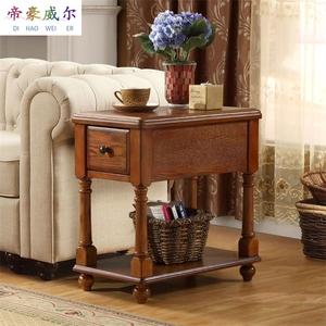 美式茶几边几沙发边柜实木沙发角几边桌电话几方桌床头柜转角桌