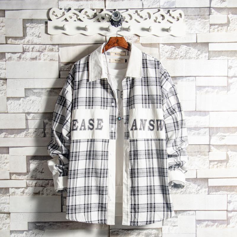 白糖玫瑰/19 黑白格纹拼接长袖衬衫男韩版青少年帅气潮流学生上衣(非品牌)